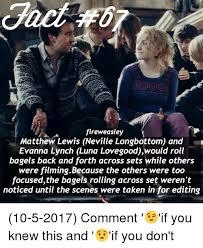 Neville Longbottom Meme - fireweasley matthew lewis neville longbottom and evanna lynch luna