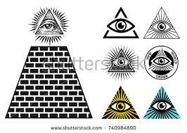 illuminati symbols all seeing eye icons set pyramid image vectorielle 740984890