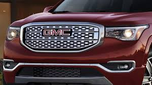 front grille of a gmc acadia with gmc logo