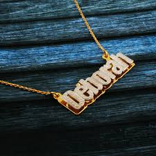 nameplate necklace plated nameplate necklace white yellow gold plated silver