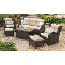Outdoor Patio Fabric Member U0027s Mark Heritage 6 Piece Deep Seating Set With Premium