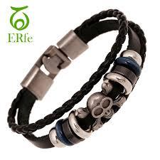 black bracelet men images Er rock skull leather bracelet men black genuine leather braclet jpg