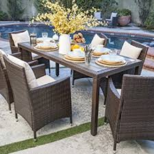 Patio Table With Umbrella Hole Amazon Com Nathaniel 7 Piece Outdoor Patio Dining Set With