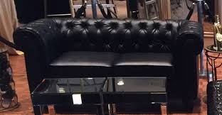 Black Tufted Sofa by Lounge Furniture Palace Party Rental