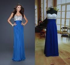 cheap in stock royal blue prom dresses ciffon floor length a line