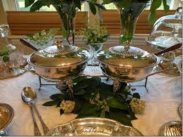 how to set a buffet table with chafing dishes using my copper chafing dishes and adding a floral really dresses up