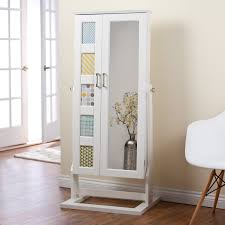 White Armoire Furniture White Wooden Over The Door Jewelry Armoire With Mirror