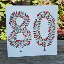 80th birthday card by folk papercuts by suzy