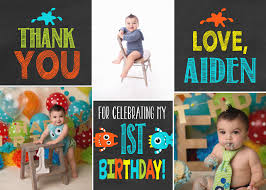 monster birthday thank you card photo thank you card 1st birthday