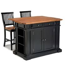 Kitchen Island With Barstools by Home Styles Americana Black Kitchen Island With Seating 5003 948