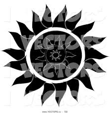 vector graphic of a black and white tribal styled sun design on