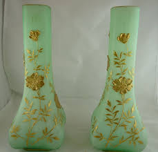 Victorian Glass Vase Pair Of Antique Victorian Satin Glass Mantle Vases With Gold From