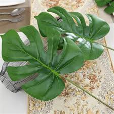 cheap flowers for wedding 1piece large artificial monstera palm tree leaves green