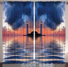 lighthouse home decor dark blue curtains nautical home decor by ambesonne sea life