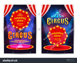 circus amazing show poster template light stock vector 424607719