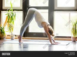 Livingroom Yoga Full Length Portrait Of Attractive Young Woman Working Out At Home