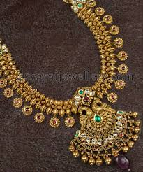kundan necklace with gold balls jewellery designs