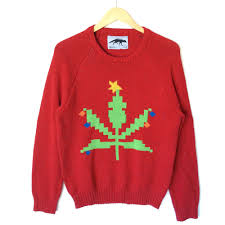 8 bit weed pot leaf tacky ugly christmas sweater ugly