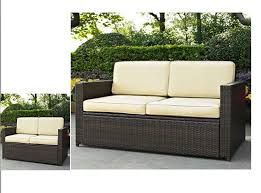 Palm Harbor Patio Furniture Resin Wicker Loveseat With Cushions Patio Outdoor 2 Seater