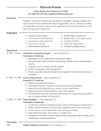 Environmental Technician Resume Sample Resume Automotive Technician Resume Sample