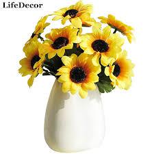 Artificial Sunflowers Silk Artificial Flowers 7 Heads Big Sunflowers Simulation
