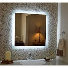 lighted mirrors for bathroom amazon com led backlit mirror with border home kitchen