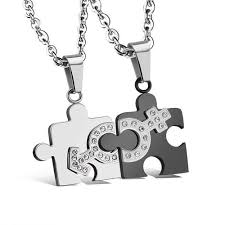 stainless steel puzzle necklace images Couple necklaces tangeel jpg