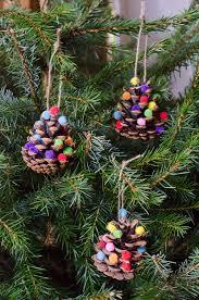 homemade christmas decorations pom pom pine cones growing family