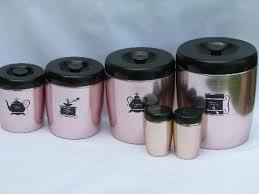 antique canisters kitchen vintage west bend copper pink aluminum kitchen canisters shakers