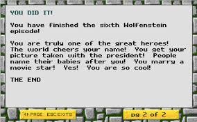 wolfenstein 3d has the best end message gaming
