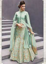 buy pista color georgette party wear lehenga choli 2 in 1 style in