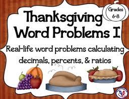 thanksgiving math word problems i calculating decimals percents