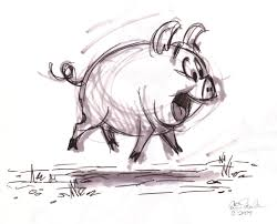 excited piggy pig sketch by eric scales character sketches