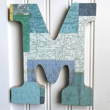Chicago Map Wall Art by Green Map Letter M Wall Decor Wall Letter Wood Letter Letter Art