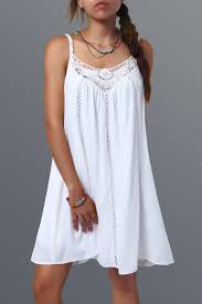 white summer dresses hollow out lace spliced summer dress in white l sammydress