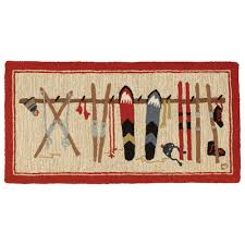 Cabin Rugs Ski Rack Hooked Accent Rug