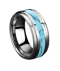 turquoise and wedding ring 9mm mens womens turquoise inlay tungsten high polished wedding