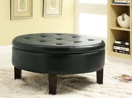 White Leather Coffee Table Round White Leather Ottoman Coffee Table Tufted Round Leather