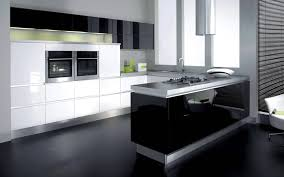 fair modular kitchen with u shape come with black white colors