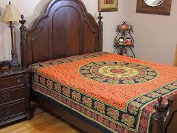orange dot print mandala tapestry bed sheet cotton elephant