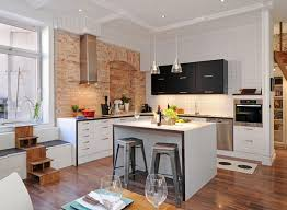 kitchen interior design for small with wall brick and square tiles kitchen interior design for small with wall brick and square tiles