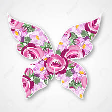 isolated multicolor butterfly paper butterfly with roses for