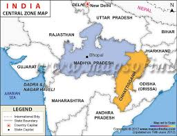 map central general maps maps of india central zone map of india central