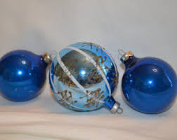 blue glass ornament etsy