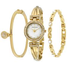 anne klein bracelet gold images Anne klein mother of pearl dial ladies watch and bracelet set jpg