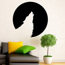 moon wolf wall decal animal vinyl stickers stars symbol home zoom