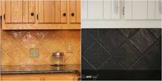 Glass Mosaic Tile Kitchen Backsplash Ideas How To Paint A Tile Backsplash My Budget Solution Designer Trapped