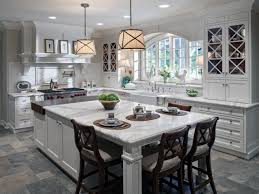 interior square pendant lighting with white kitchen island and