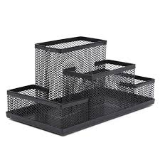 Black And White Desk Accessories Mesh Cube Metal Stand Combination Holder Desk Desktop Accessories