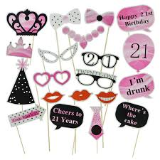 21st Party Decorations Aliexpress Com Buy 20pcs Diy Happy Birthday Party Photo Booth